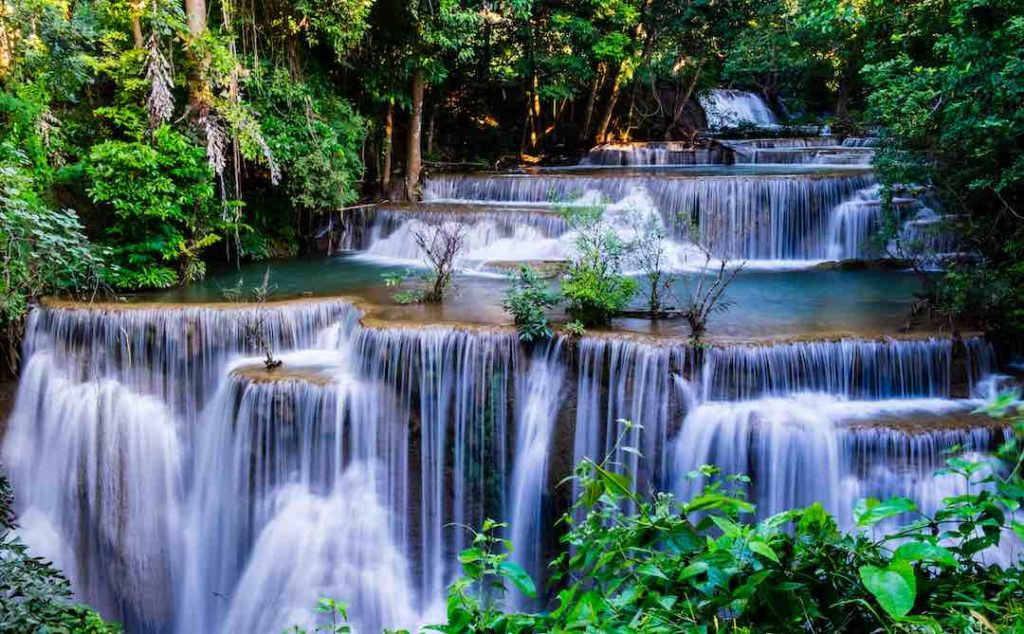 The waterfall in tropical forest at Huay Mae Khamin National Park, Thailand